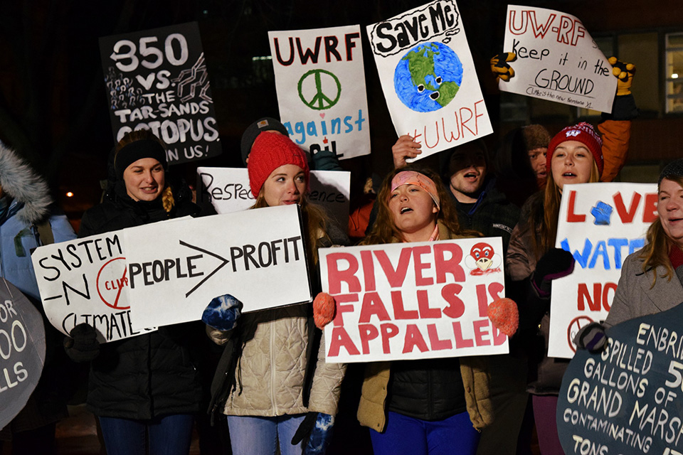 UWRF students Ali Slaughter, Molly Kinney, Michelle Stage, and Natasha Horsfall chant along with the crowd at the #ClipperIsTheNewXL rally in Milwaukee on Thursday, Feb. 11.