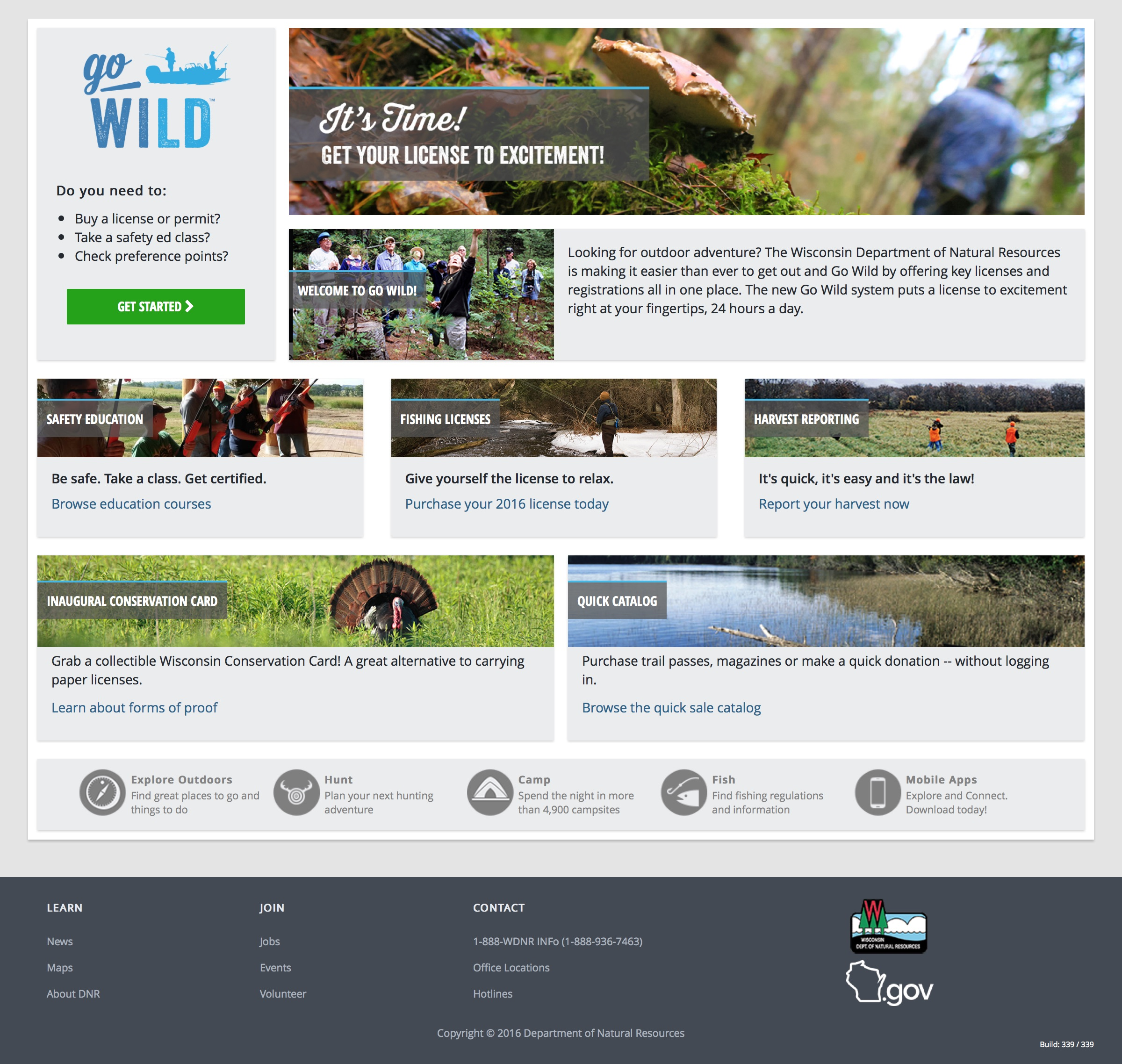 Go Wild is the Wisconsin Department of Natural Resources' new website for licenses and registrations.