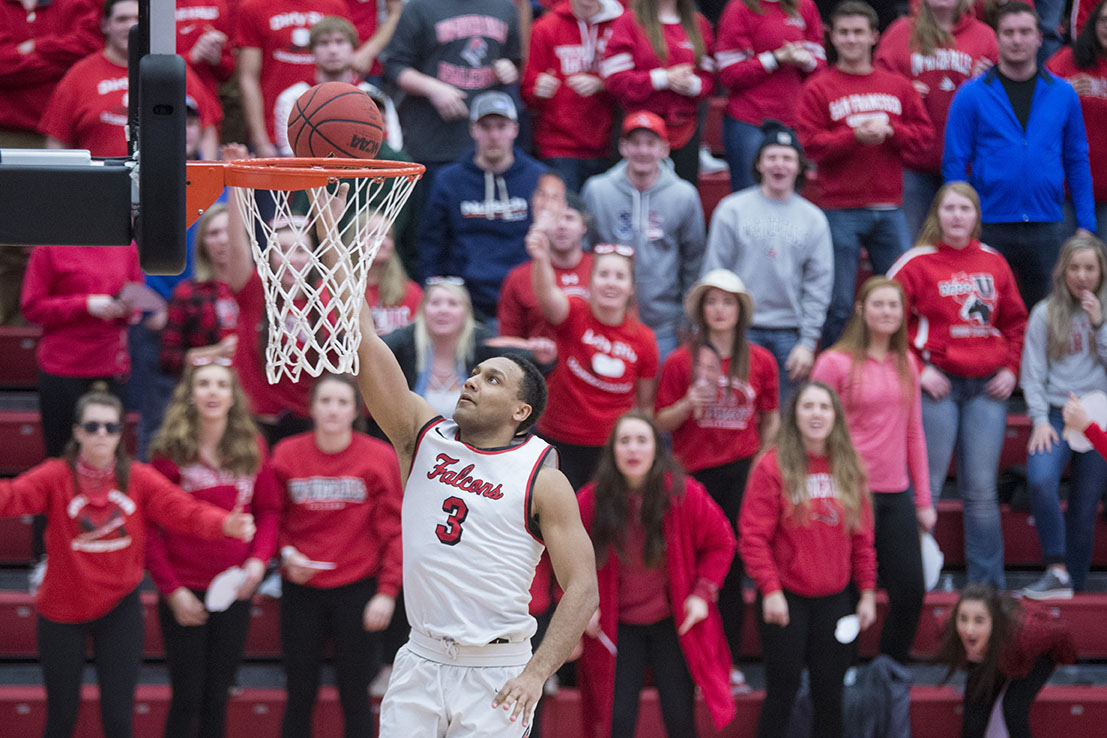 Devin Buckley goes up for a layup against UW-Whitewater in February. Buckley said there has have been increasing diversity and inclusivity efforts in the Athletics Department. (Tori Schneider/UWRF Communications)