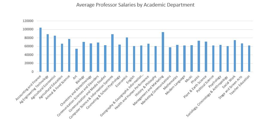 The graphic shows average professor salaries by academic department at UW-River Falls. (Graphic by Zach Dwyer)