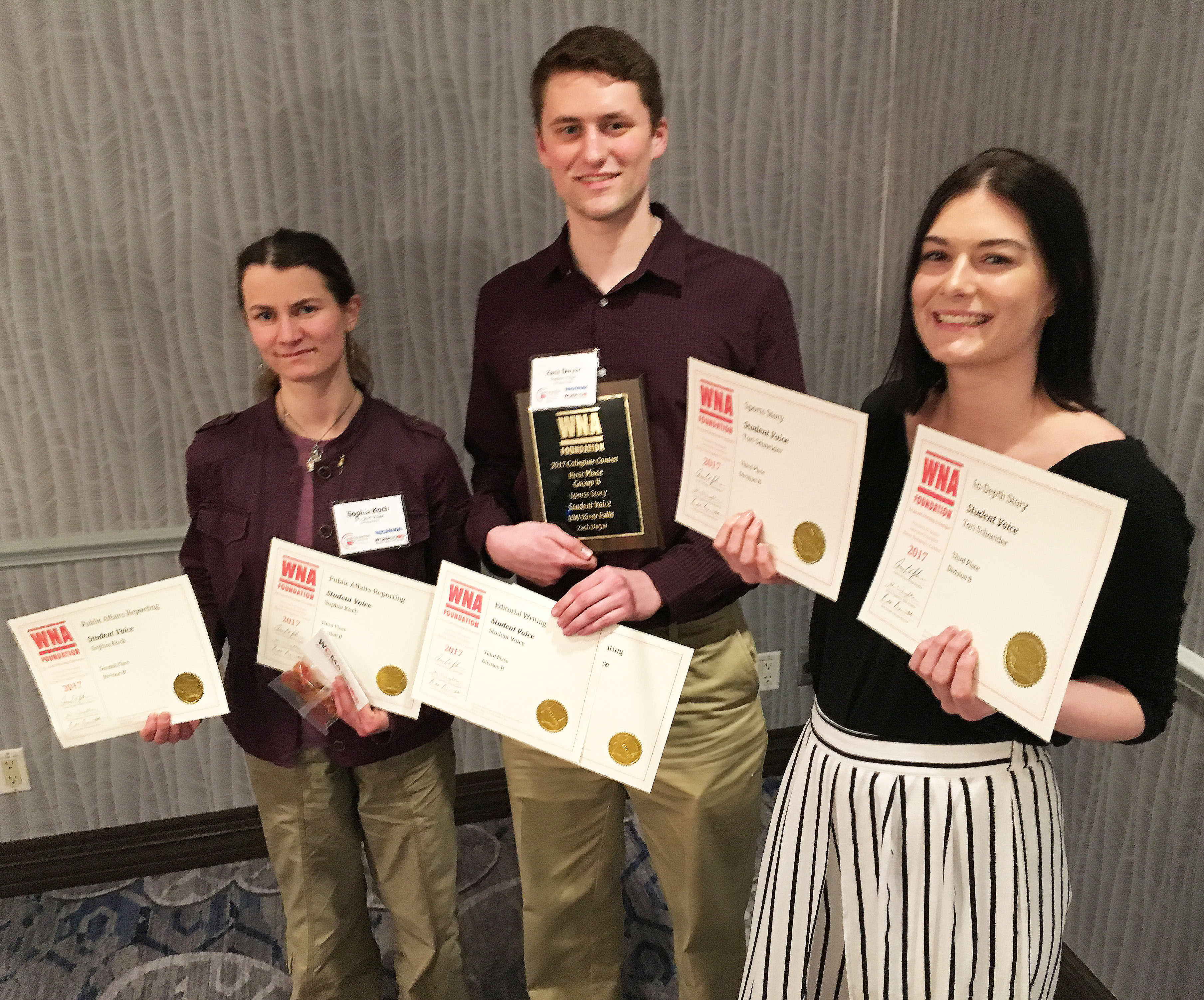 UWRF Student Voice Assistant Editor Sophia Koch, Editor Zach Dwyer and former photo editor Tori Schneider collected their awards Friday in Madison at the Wisconsin College Media Association Honors Luncheon. (Photo by Mike Dorsher)